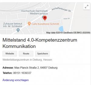Ergebnis-Anzeige (SERP) der Google-Suche für Mittelstand 4.0-Kompetenzzentrum Kommunikation