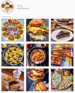 Das Hashtag #food auf Instagram liefert Millionen Ergebnisse