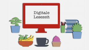 Auf einem Bildschirm wird der Schriftzug Digitale Lesezeit angezeigt.