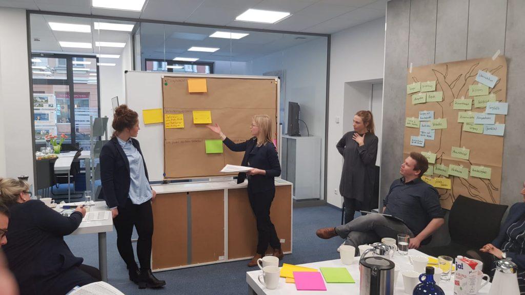 Brainstorming und Analyse: Ideen werden aufgeschrieben und festgehalten an einer Tafel.