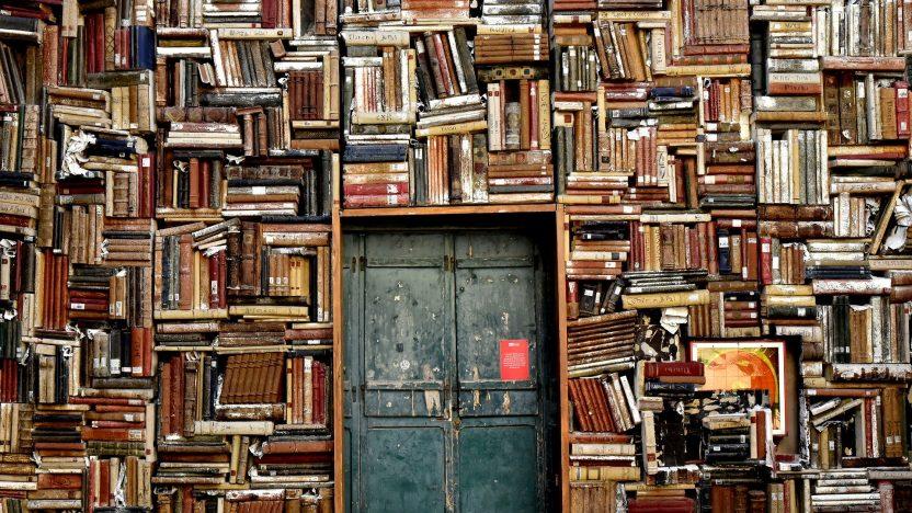 Ein Raum ist überfüllt mit Büchern. Mittendrin eine blaue Tür.