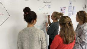 Die vier Gründerinnen sind im Innovationlap und notieren ihre Stichpunkte an die Wand.