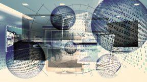 In der grafik sind Bildschirme, Nullen und Einsen abgebildet, die miteinander vernetzt sind.
