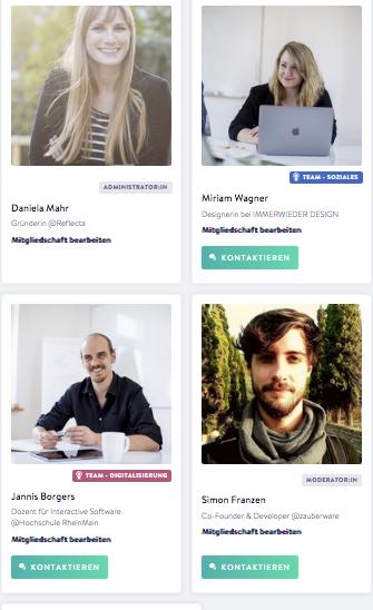 Screenshot des Netzwerks mit vier Profilen des Reflecta-Teams.