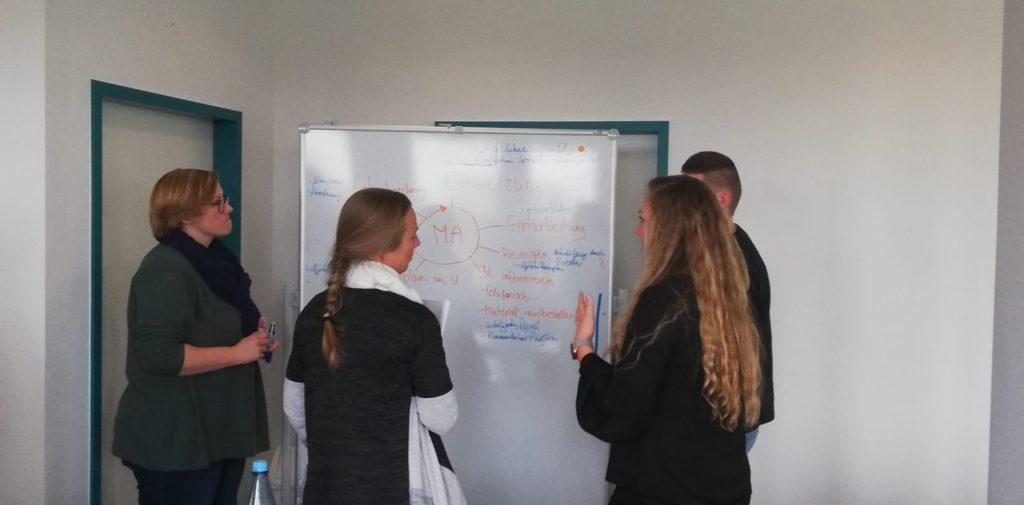 Die WEIKAMM-Mitarbeiter/-innen stehen vor einer weißen Tafel und planen ihre Digitalisierung.