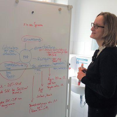 Eine Frau steht vor einer Tafel im Workshop und macht eine Digitalisierungsreise.