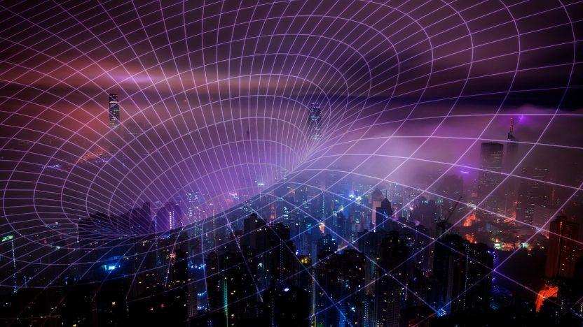 Ein lila Funknetz spannt sich über die Menschen.