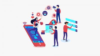 Abbildung zeigt einen digitalen Messestand. Menschen arbeiten mit verschiedenen Devices.